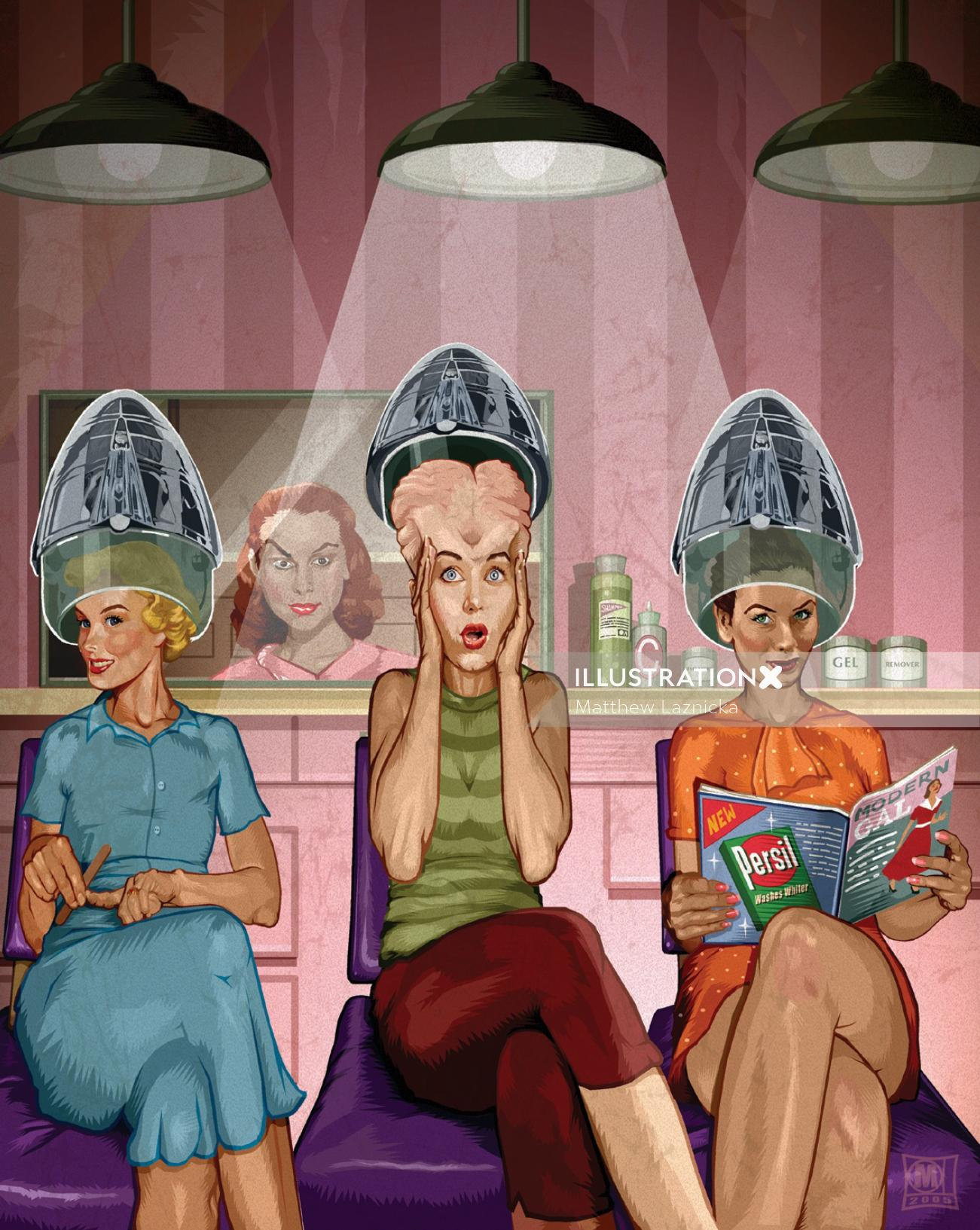 Retro art image of ladies in saloon