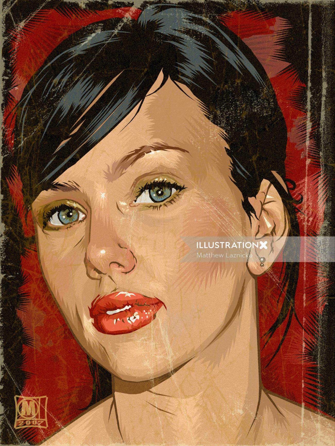 Realistic illustration of a lady