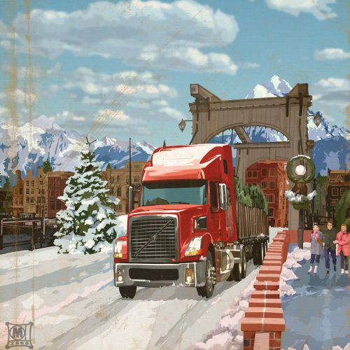 Illustration of volvo truck