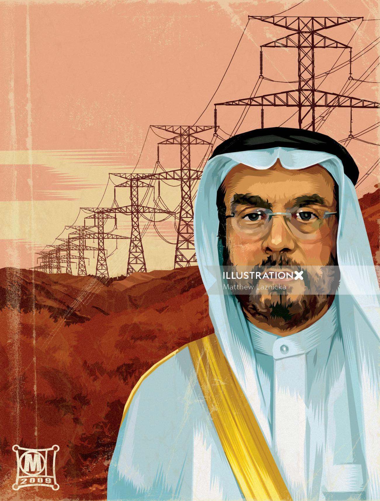 Portrait illustration of a Arabian man