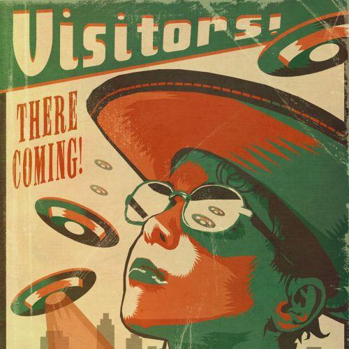 UFO Vistors retro poster