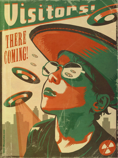 Poster retro de UFO Vistors