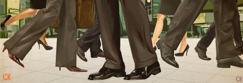 Black trousers and black shoes illustration by Matthew Laznicka