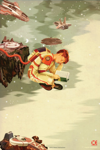 Illustration of a boy reading book