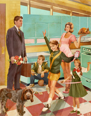 Illustration of a family in fifties