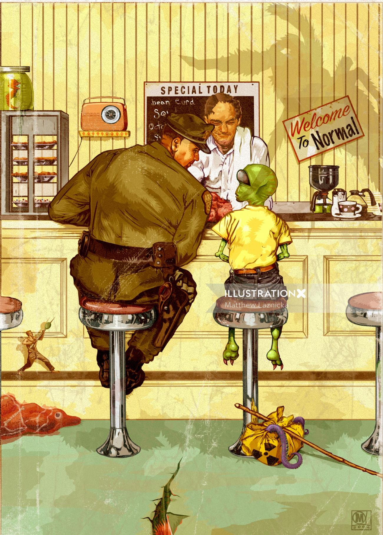 Illustration of rockwell spoof