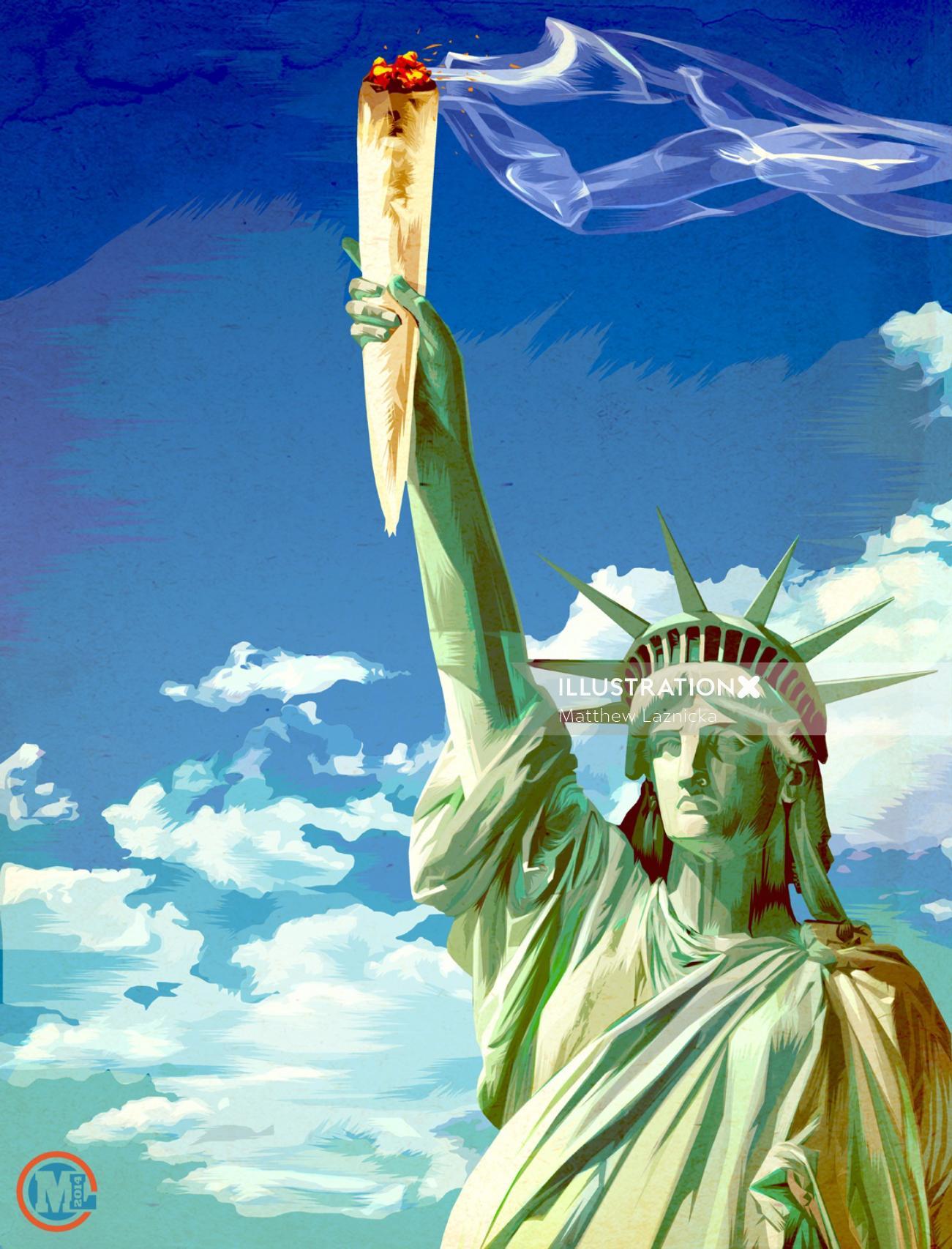 Illustration of statue of liberty