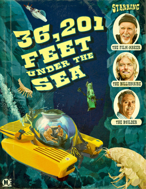 Hand lettering of 36,201 feet under the sea