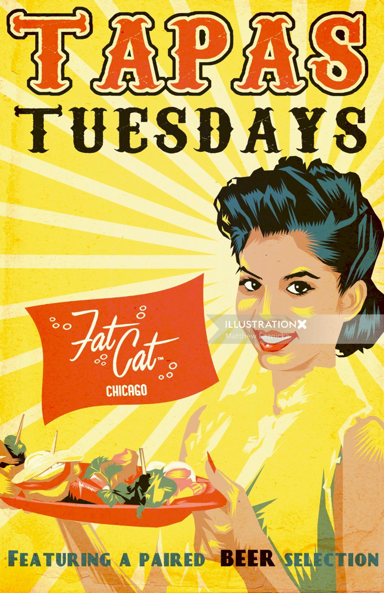 Lettering illustration of Tapas Tuesdays for Fat Cat Chicago