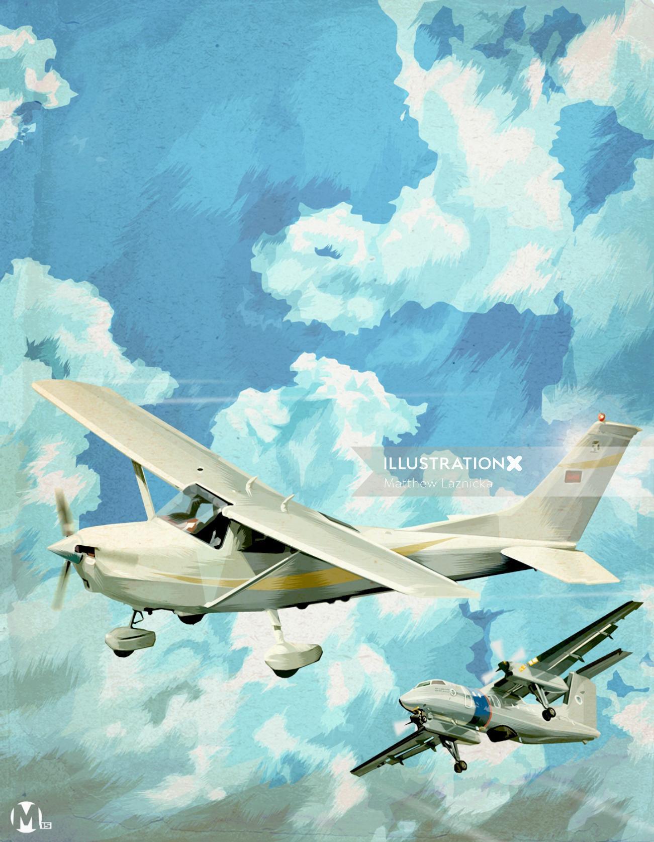 Illustration of glider planes
