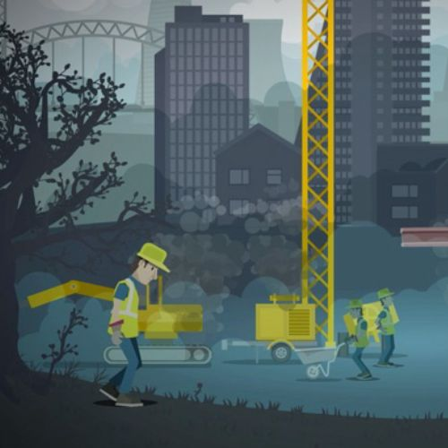 Zero Carbon Construction Sites 2d animation