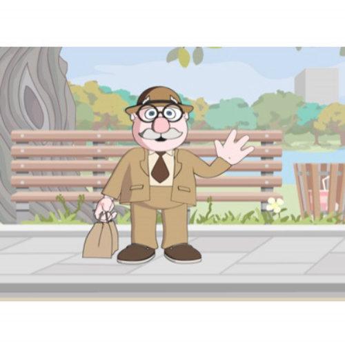 Old man on road cartoon