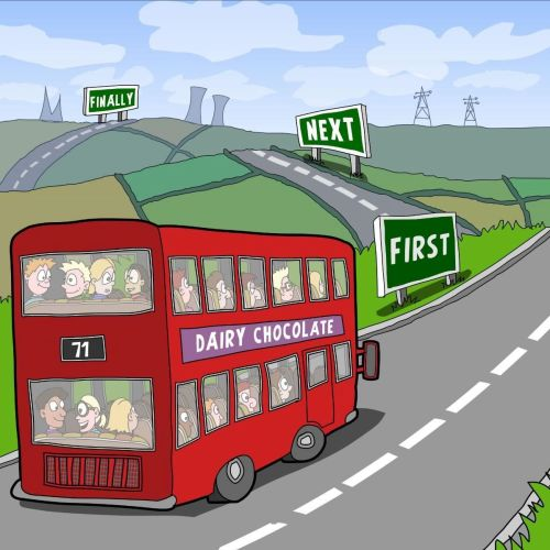 Bus graphic illustration for English language learning book