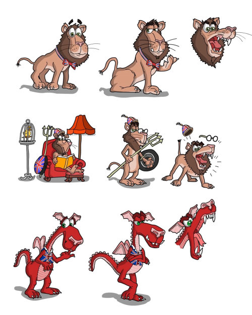 Images of Lion and Dragon