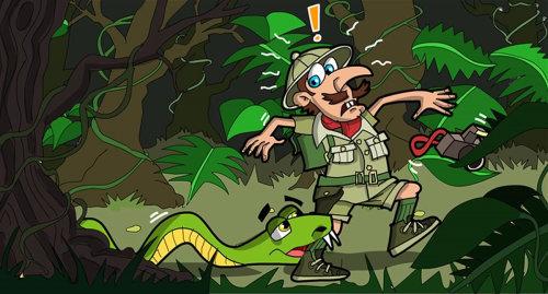 Hapless jungle explorer
