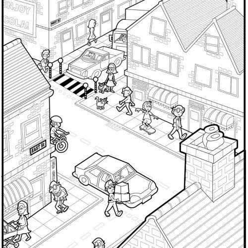 Busy town centre scene