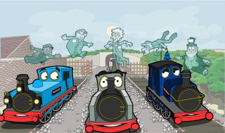 Comic train engine illustration by Matthew Robson