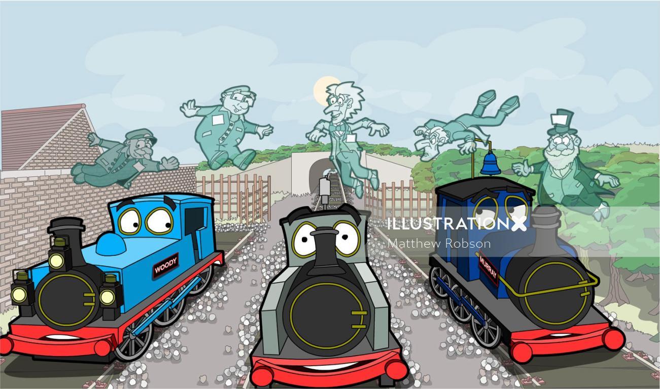 Comic train engine illustration by Matthew Robson