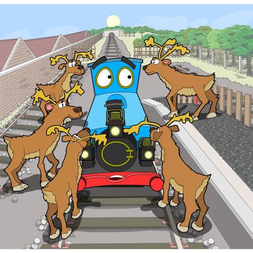 Reindeer and Train engine