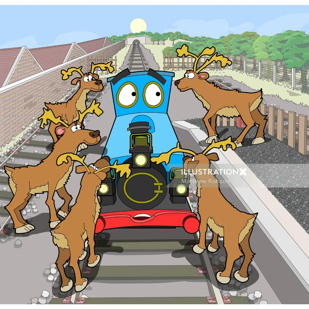 Reindeer and Train engine