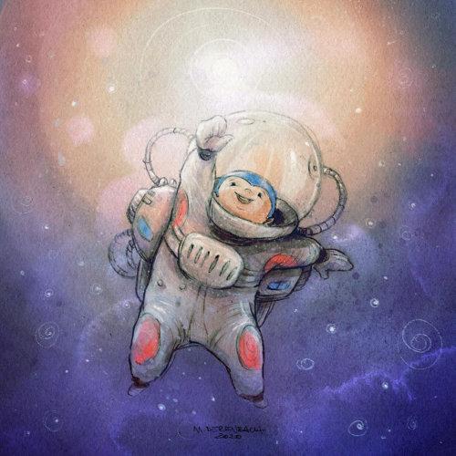太空服的卡通和幽默婴儿