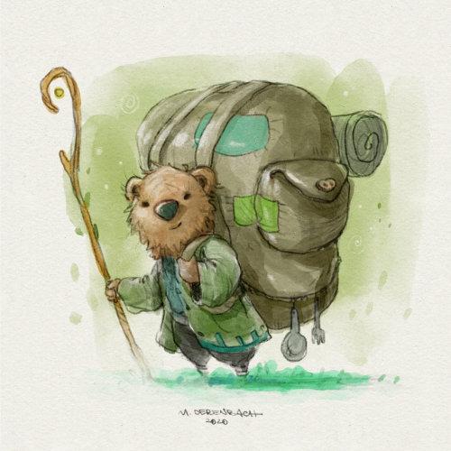 卡通与幽默动物与背包