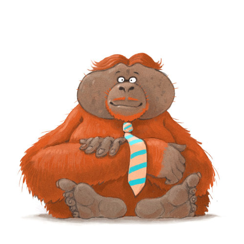 动物与大猩猩绘画