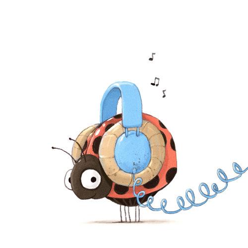 带耳机的卡通和幽默错误