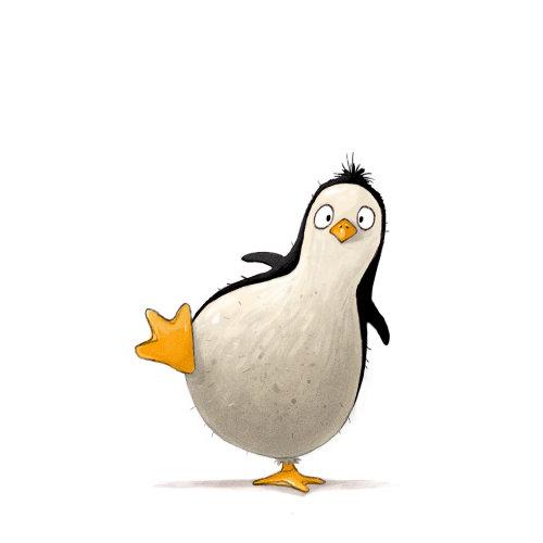 卡通和幽默企鹅腿