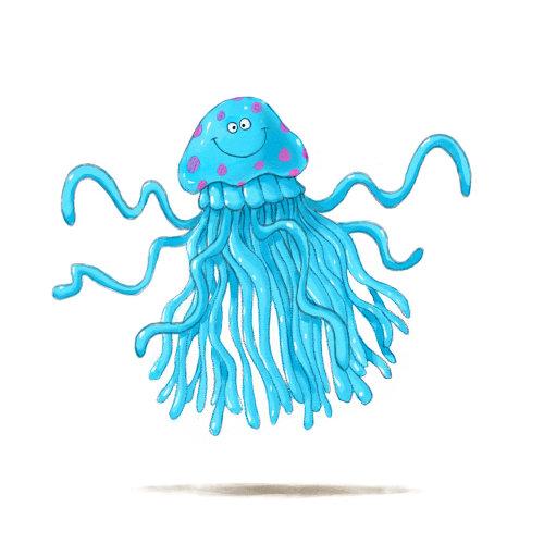 卡通与幽默蓝色笑脸章鱼