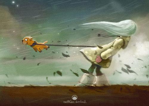 儿童书封面女人与飞狗