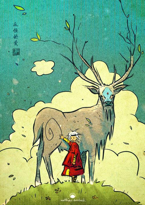 大驯鹿的动物女孩