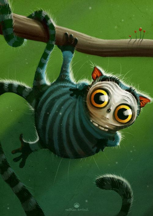 数码插画的动物在树枝上
