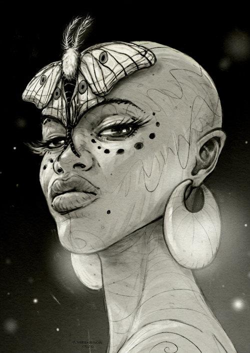蝴蝶在头上的美丽女人