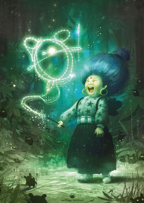 数码插画的魔法女人