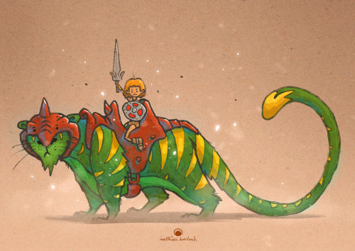 卡通和幽默的战士骑在狮子上