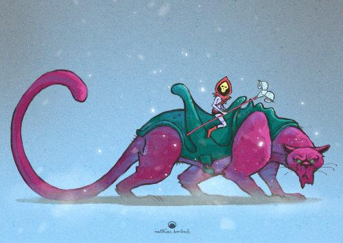骷髅骑在大型动物身上的角色设计