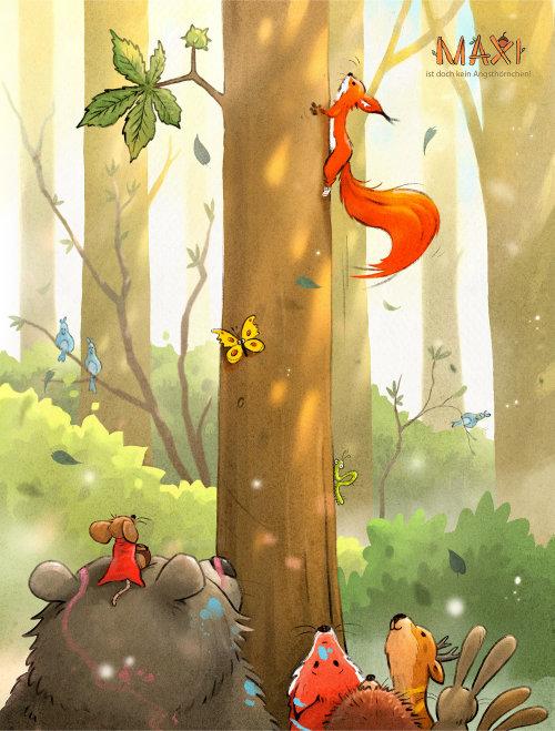 儿童书籍封面狐狸在树上