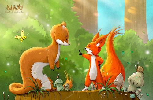在丛林中的卡通与幽默狐狸