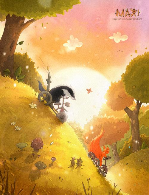 儿童书籍封面动物在丛林中骑自行车