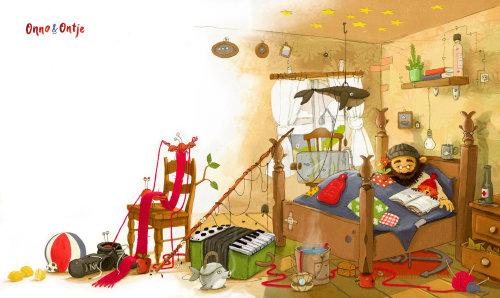 儿童图形男子坐在房间里