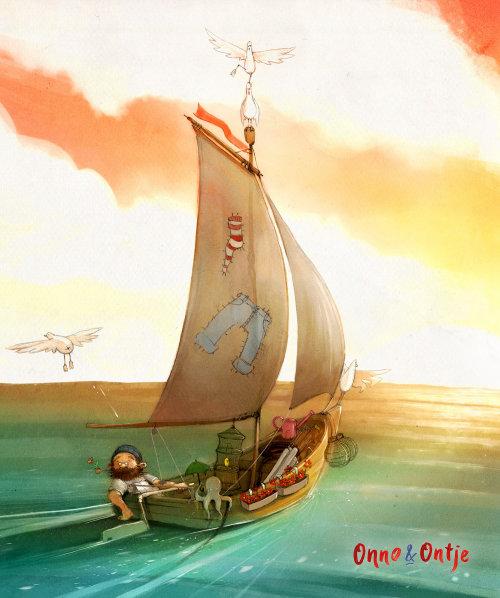 儿童书画帆船