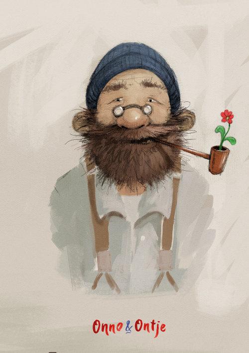 吸烟胡子男人的角色设计