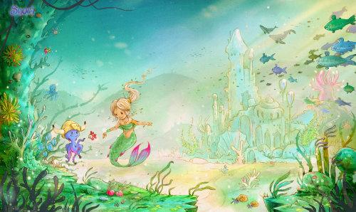 儿童在水下王国预订美人鱼