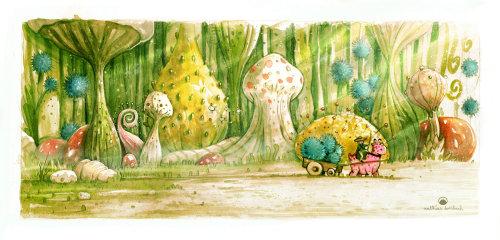 巨型蘑菇的自然绘画