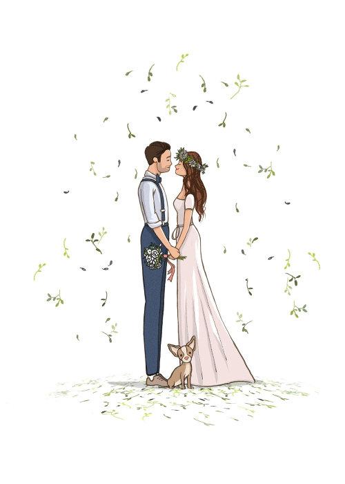 情侣婚礼人物设计