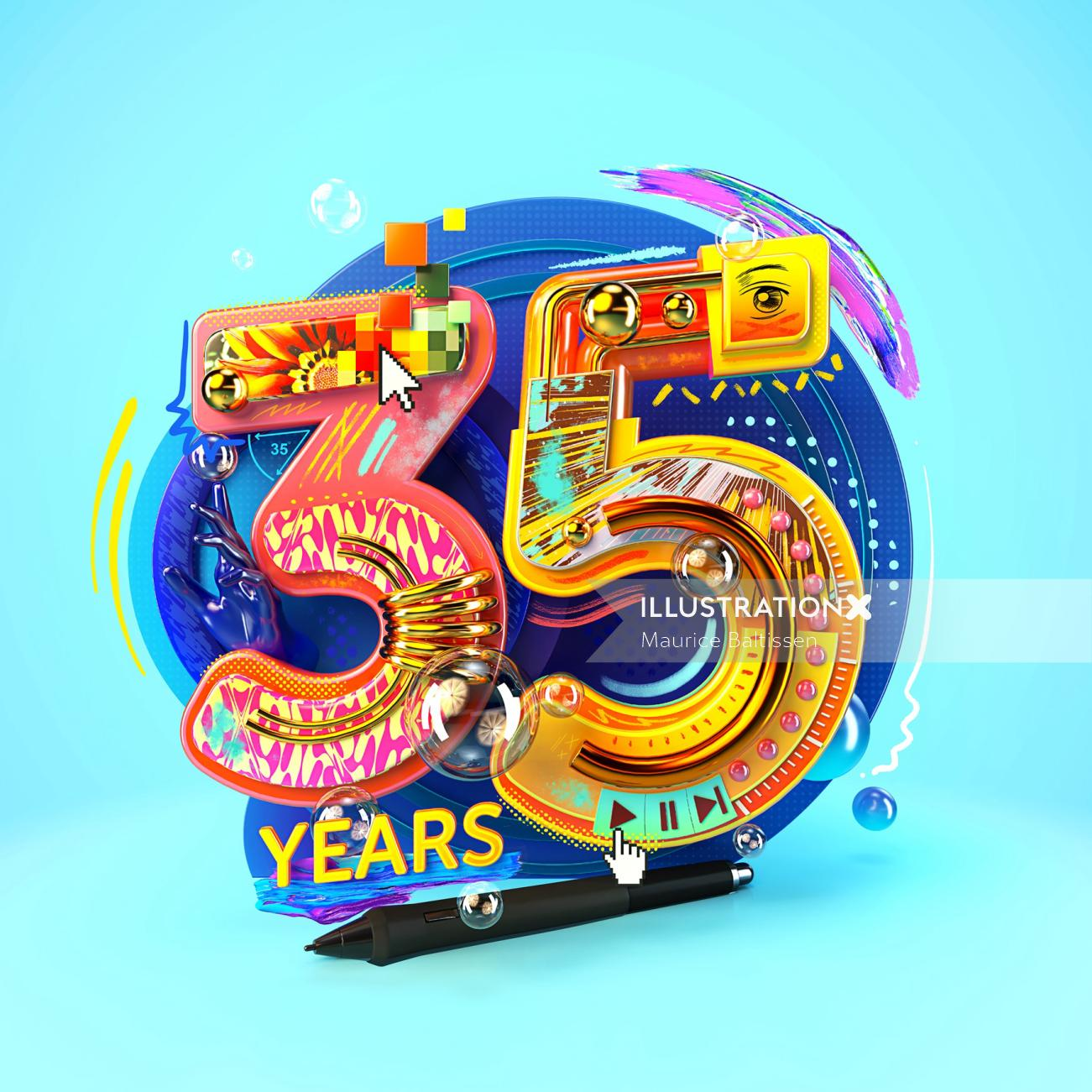 Lettering design 35 years
