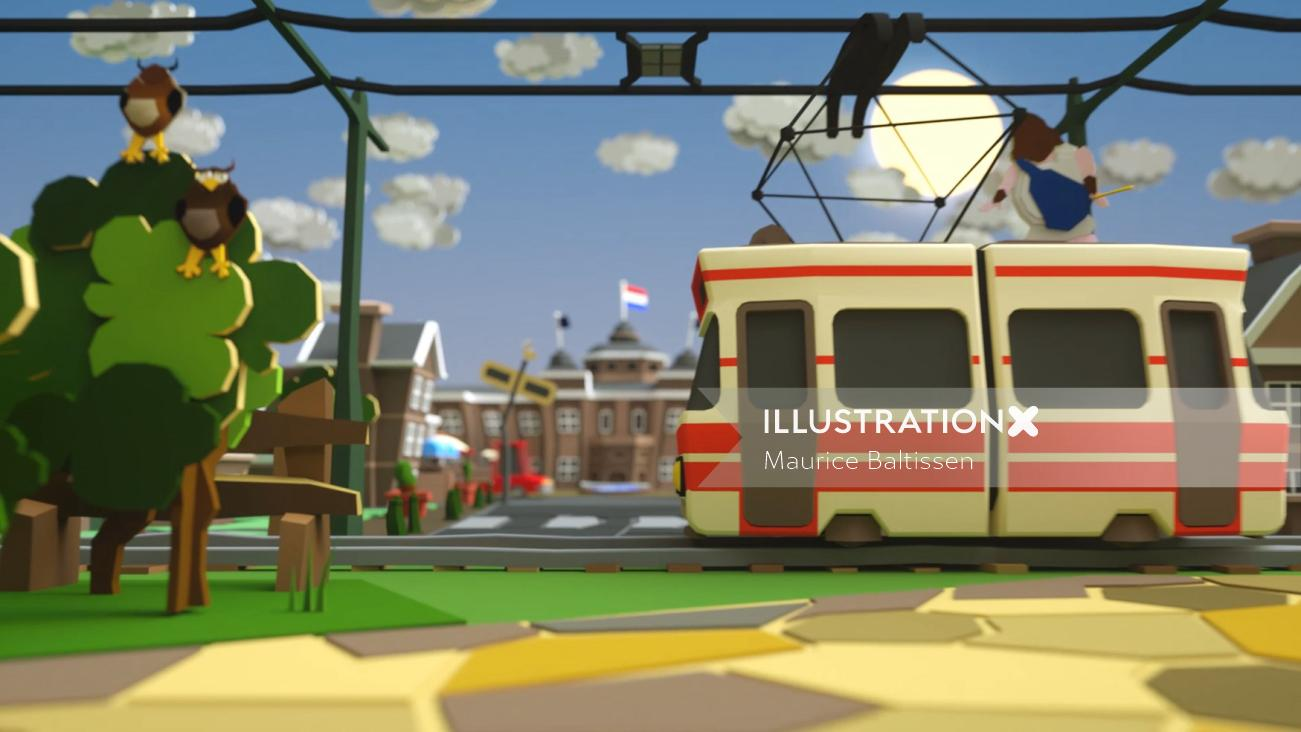 3d Collage metro train
