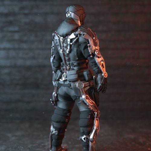 3d robot suit back view