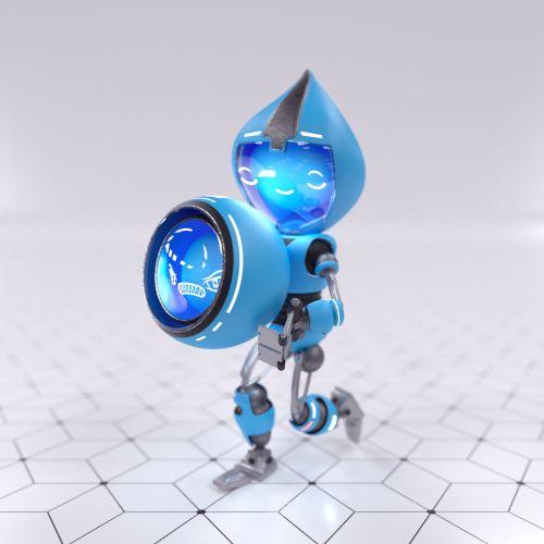 3d blue robot running